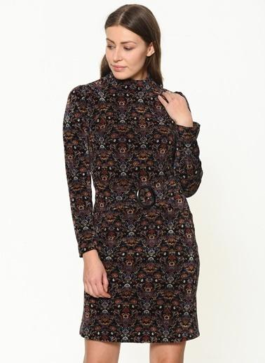 İroni Uzun Kollu Desenli Elbise Siyah
